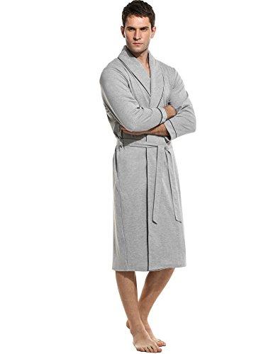 Ekouaer Mens Cotton 3/4 Sleeve Robes with Belt ( M-XXXL)