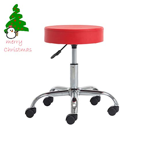 Weinerbee Rolling Stool Adjustable Height Backless Swivel Stool Chair on Wheels for Tattoo Shops,Salons,Drafting,Massage (RED) -