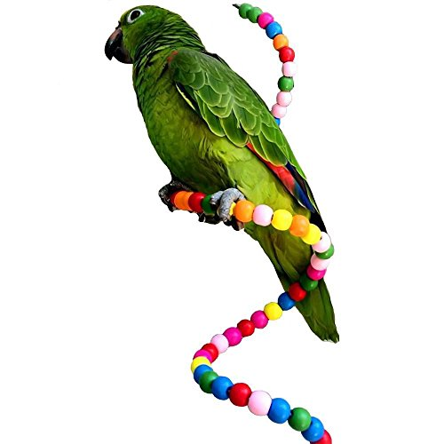 Creations Cotton Rope Bungee Bird Chewing Toy Birds Cage Stand Bar Suitable for Small or Medium Parrots and African Greys Budgies Parakeet Cockatiels Cockatoo Conure Macaw Lovebird Finch (39 Inches) ()