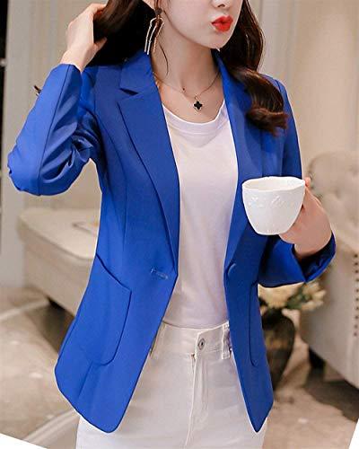 Tailleur Da Manica Saphir Autunno Cappotto Colori Solidi Primaverile Lunga Fit Donna Eleganti Blazer Slim Giacca Casual Business Blau Moda Con Button Tasche SPq7qFw