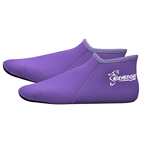 Seavenger Zephyr 3mm Neoprene Socks | Wetsuit Booties for Scuba Diving, Snorkeling, Swimming (Lilac, Small) (Scuba Diving Wetsuit 3mm)