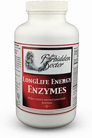 Longlife Energy Enzymes, 3mo Supply-Pancreatin 6X Strongest Enzyme Pancreas Digestive Support. 100% Whole Food-No Synthetics, Trypsin 2500 USP-Chymotrypsin 1000 USP-PROBIOTICS-Turmeric, etc.