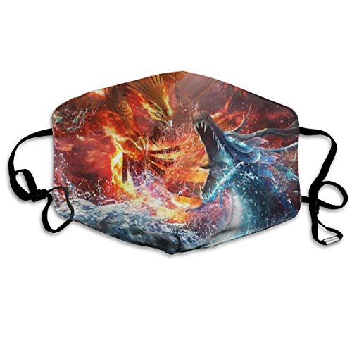 Boys Girls Anti-Dust Anti-Allergies Anti Allergy Earloop Half Face Face Mask Face and Nose Cover Painting Polyeste Mask Adjustable Elastic Strap, Fire Phoenix Bird Vs Water Dargon Art -