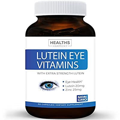 Best Lutein Eye Vitamins (NON-GMO) - Vision Support Supplement for Dry Eyes & Vision Health Care - Bilberry - Proudly Made in the USA - 100% Money Back Guarantee - 60 Capsules