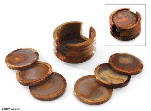 NOVICA Decorative Cedar Wood and Gray Agate Coasters, Brown, Burning Mist' (Set of 6) by NOVICA (Image #2)