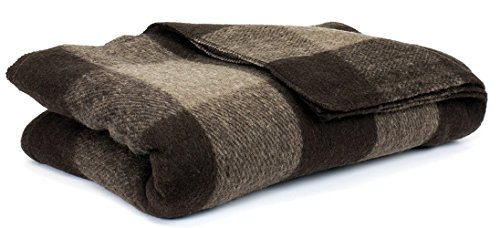 - Bunkhouse Plaid Wool Blankets #NW-WBASBHP 80 x 62 Inches Twin Size - Machine Washable Brown/Tan Fawn