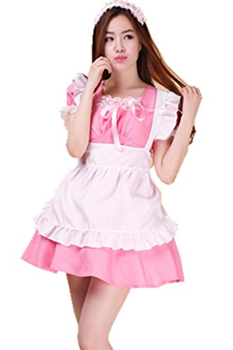 [Shanghai Story Women Japanese Kawaii Maid Costume Lolita Dress Cosplay 2XL Pink] (Pink Renaissance Dress)