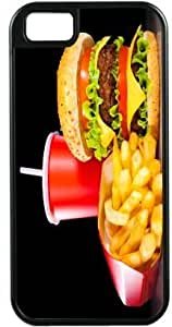 Rikki KnightTM Burgers and Coke Black Tough-It Case Cover for iPhone5 & 5s (Double Layer case with Silicone Protection)