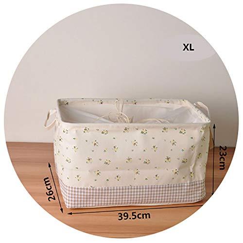 Cute Printing Cotton Linen Desktop Storage Organizer Bundle Sundries Storage Box Cabinet Underwear Cloth Toy Storage Basket,XL