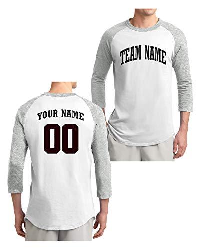 Custom 3/4 Sleeve Baseball T-Shirt (Grey, Large)