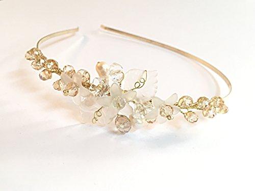 Gold Wedding Headband Pearl Bridal Crown Silver