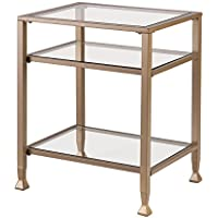 Metal/Glass End Table - Matte Khaki