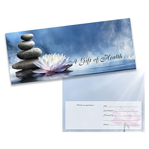 White Lotus Massage/Chiropractic Gift Certificate, No Logo - (25-Pack) by AuraCare