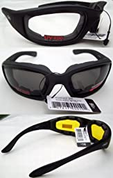 3 PAIRS: PADDED MOTORCYCLE GLASSES SUNGLASSES SMOKE CLEAR YELLOW + Storage Bags