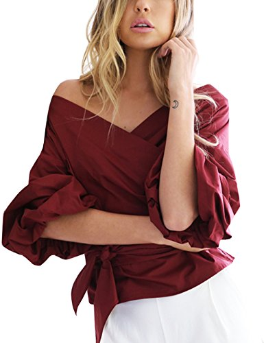 Women Strapless Blouse,Crossover V-Neck Off Shoulder Lantern Sleeve Belted Tops Belted Wrap Top