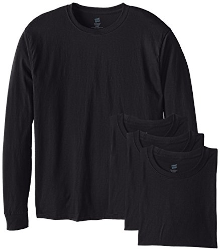 Hanes Men's 4 Pack Long Sleeve Comfortsoft T-Shirt, Black, Large