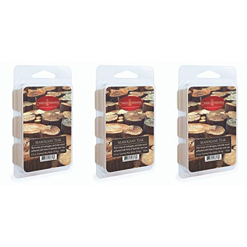 CANDLE WARMERS ETC 3-Pack 2.5 oz Wax Melt Tart Brick, Mahogany Teak (Mahogany Scented Candle)