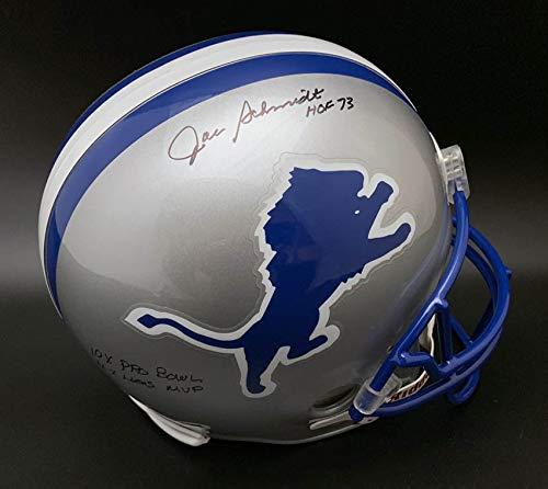 Joe Schmidt Detroit Lions - Joe Schmidt Autographed Signed Detroit Lions F/S Helmet Hof 73 Stat PSA/DNA Autographed