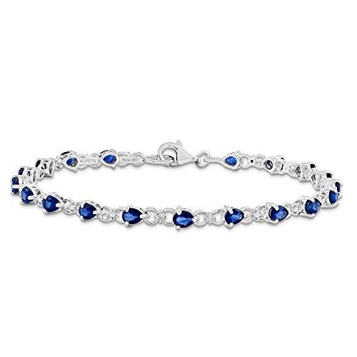 JewelryWeb Bracelet Argent Sterling (925) Saphir Diamant