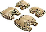 HWZ Pack of 4 Tactical Combat Knee & Elbow Protective Pads Guard Black or CP Camouf
