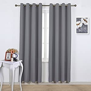 NICETOWN Bedroom Blackout Curtains Panels - Triple Weave Energy Saving Thermal Insulated Solid Grommet Blackout Draperies for Patio (One Pair, 52 Inch by 95 Inch, Grey)