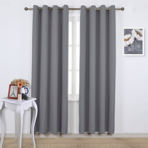 NICETOWN Blackout Curtains Panels for Bedroom - Three Pass Microfiber Noise Reducing Thermal Insulated Solid Ring Top Blackout Window Drapes (Two Panels, 52 x 84 Inch, Gray) Voile Side Light Curtain Panel