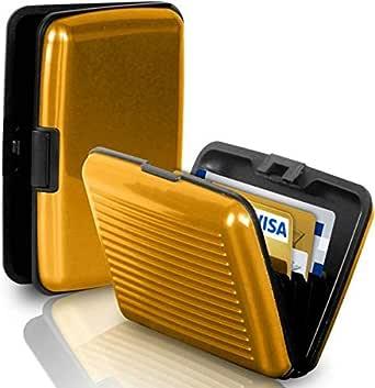 حامل بطاقة الهوية الشخصية للسفر من الأعمال محفظة ألومنيوم معدنية جيب علبة ذهبية
