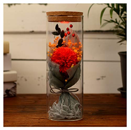 OPPALE Eternal Flower Everlasting flower Luminous Wishing Bottle Creative Practical Gift Glass Cover Gift Carnation Gift Box Valentine