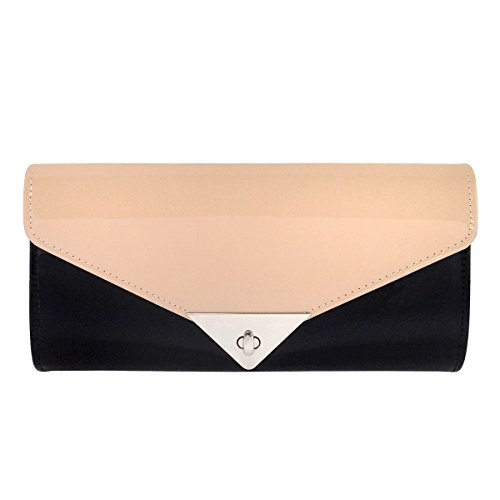 JNB Faux Patent Leather Color Block Clutch
