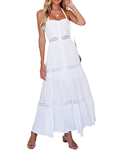 Long White Summer Dress - bmjl Women's Elegant Off The Shoulder Halter Tie Lace Patchwork Buttoned Split Swing Adjustable Slip Long Maxi Dress(M,White&Lace)