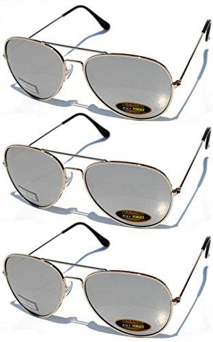 3 Pair Silver Metal (Aviator Style Sunglasses Mirror Silver Color Lens Metal Frame UV Protection 3 Pairs)