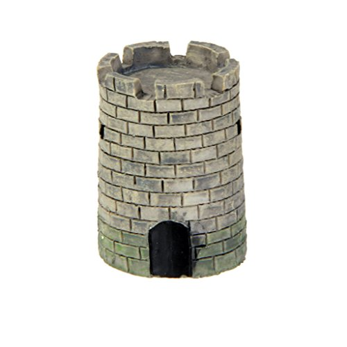 MagiDeal Mini Round Castle Dollhouse Landscape Bonsai Craft DIY Home Garden Decor