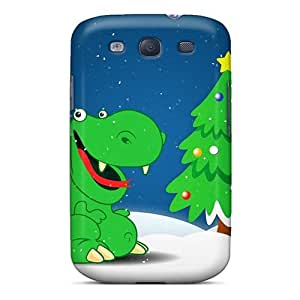Premium Tpu Green Dino Holidays Cover Skin For Galaxy S3