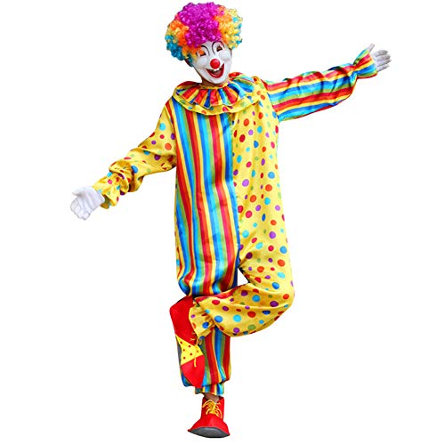 Honfill Clown Costume for Adult, Multicolor Fits 5.41