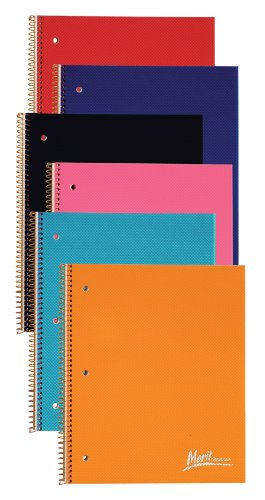 Ampad 25-582R Evidence Merit Notebooks 3 Subject, 2 Pocket, College Ruled, 132 Sheets, Assorted Covers