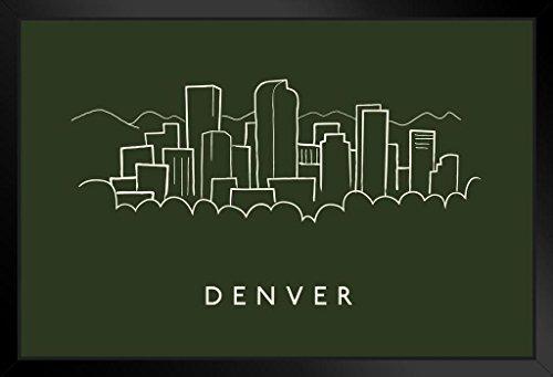 Pencil Framed Art Print - Denver City Skyline Pencil Sketch Art Print Framed Poster 20x14 inch