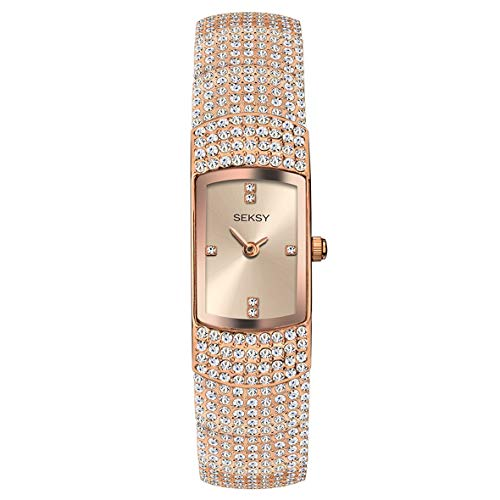 Women's Rose Gold with Rose Gold Swarovski Crystals Bracelet Watch, Water Resistant, Extra Clasps, Seksy Collection by Sekonda (Rose Gold)