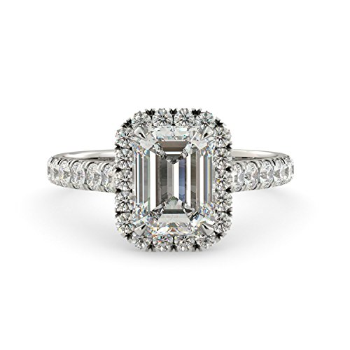 Cut Diamonds Cathedral (2.25 dwt Emerald Cut Charles & Colvard Forever One Moissanite & Round Cut Halo Diamond Engagement Ring Cathedral Solid 14k White Rose Yellow Gold)