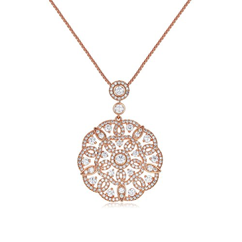 Chandelier Pendant Necklace (SHINCO Bella Lotus Mandala 18k Rose Gold Plated Cubic zirconia Crystal Pendant Necklace Fashion Jewelry)