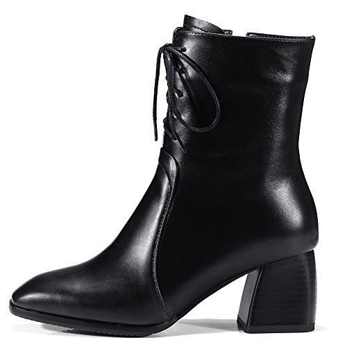 Women's Boots Up Handmade Black Toe Lace Comfort Genuine Ankle Square Leather Nine Seven Block Heel UgxZR