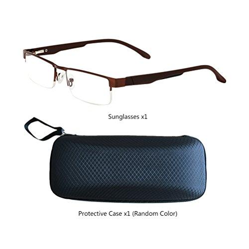 0 Choose Con 1 Unisex gafas X X X 3 estuche 0 0 Square Eyewear de Readers Glasses Men Your Brown Women Elderly Reading Zhuhaitf Metal for 2 Magnification I0UZP4n