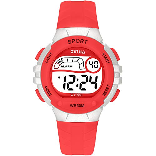 Kids Digital Watch,Boys Girls Sports Outdoor LED 50M Waterproof Multi Functional Wrist Watches with Alarm for Boys,Girls,Children,Students(Red)