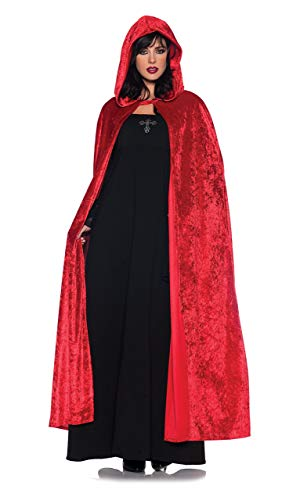 - Women's Costume Cape - Full Length Velvet Hooded Cloak, Red, One Size