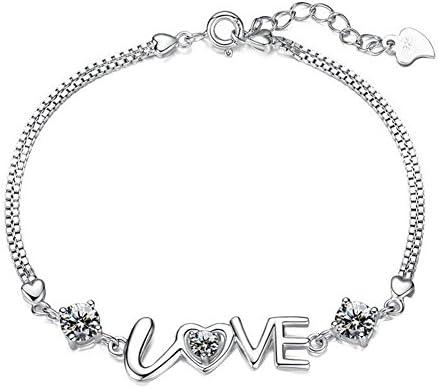 90d8b168f29e Hosaire Pulseras de plata de perforación de destello letra LOVE Amantes Regalo  Pulseras Nuevo Estilo para Mujeres de la Joyería Accesorios