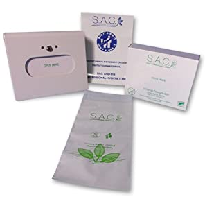 Sanitary Napkin Disposal Bags and Dispenser Set. Includes 100 bags