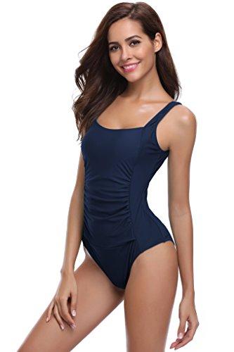 SHEKINI Damen Einteilige Blumen Einfarbig Badeanzug Monokini Verstellbarer Oder Nicht Verstellbarer Schultergurt Badeanzüge Falten Bademode Schwimmanzug, B-dunkelblau-keine Einstellgurte, M