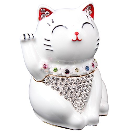 Hinged Jeweled Trinket Box Cute Japan Lucky Cat Jewelry Earring Holding Gift (White)