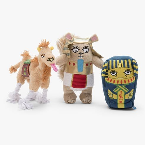 Bark Like an Egyptian Bundle with King Nut,The Ferocious Pharaoh, and Sahara Sam The Camel Squeaky Dog Toys by BarkBox
