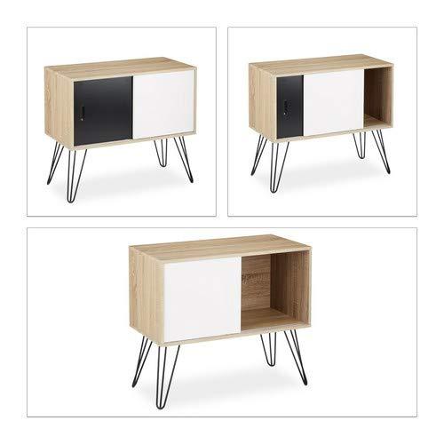 Anrichte aus Holz und Metall HBT: 70 x 80 x 40 cm Relaxdays Sideboard Retro schwarz-wei/ß Kommode mit Schiebet/üren