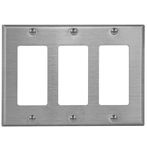 (ENERLITES Decorator Light Switch/Receptacle Outlet Metal Wall Plate, Corrosive Resistant, Size 3-Gang 4.50